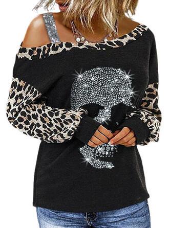 Leopard Skull head One Shoulder Long Sleeves T-shirts