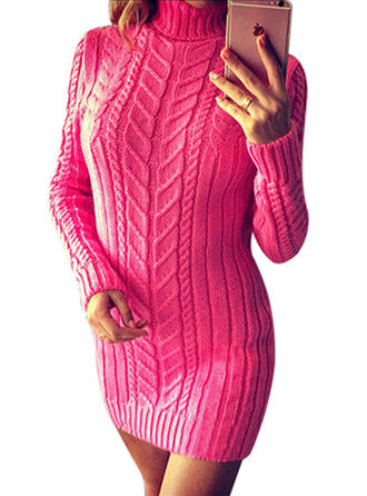Striped Cable-knit Chunky knit Turtleneck Sweater Dress