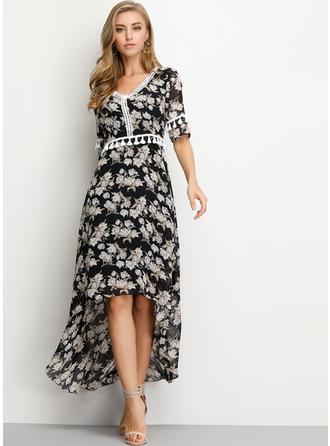 Impresión/Floral Mangas 1/2 Acampanado Asimétrico Casual/Elegante Vestidos