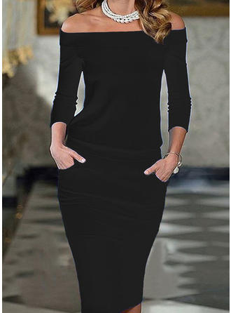 Solid 3/4 Sleeves Bodycon Sexy/Elegant Midi Dresses