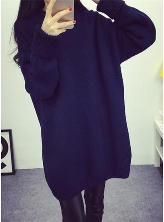 Solid Turtleneck Sweater Dress