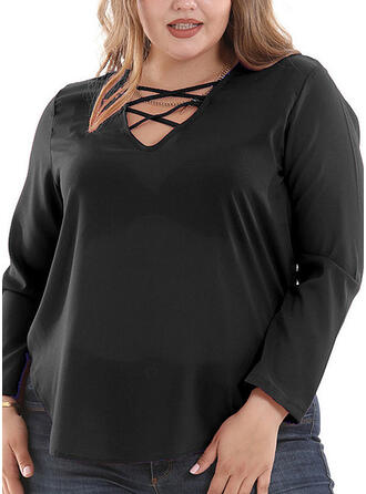 Solid V-Neck Long Sleeves Casual Plus Size T-shirts