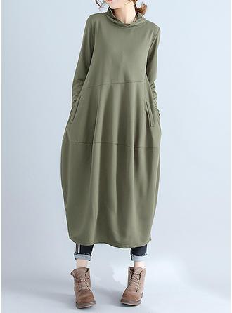 Solid Long Sleeves Shift Midi Vintage/Casual Dresses