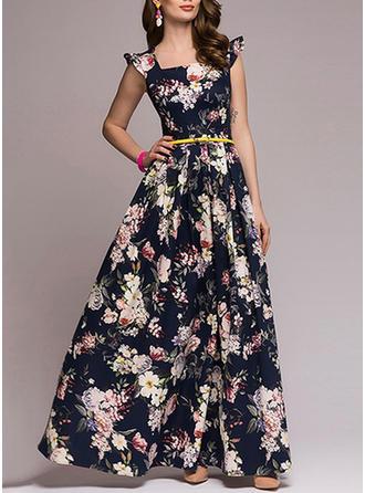 Print Bohemian Square Neck Maxi A-line Dress