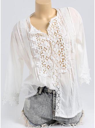 Sólido Encaje Cuello en V Mangas 3/4 Con Botones Casual Blusas