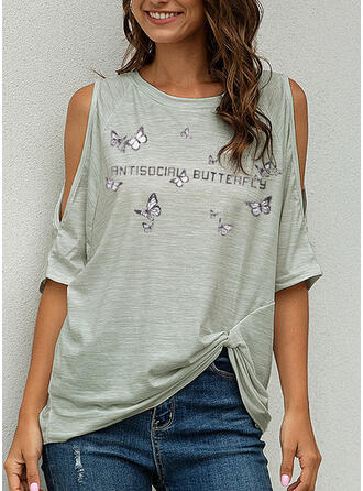 Print Cold Shoulder 1/2 Sleeves Casual T-shirts
