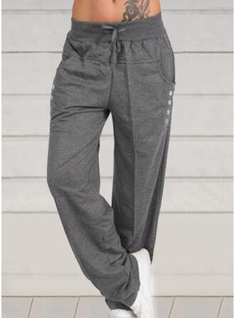 Fruncido Talla extra Cordón Largo Casual Sólido Pantalones