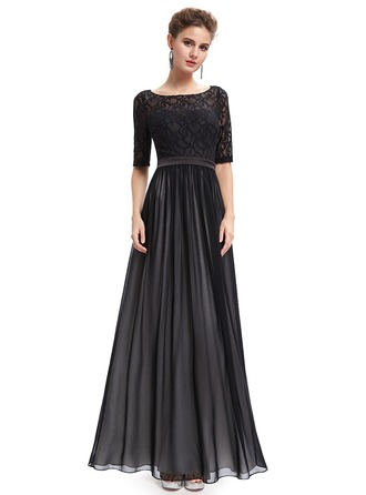 Lace 1/2 Sleeves Shift Maxi Dresses