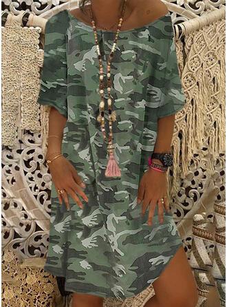 Print/Camouflage 1/2 Mouwen Shift Knielengte Casual/Vakantie Tunieken Jurken
