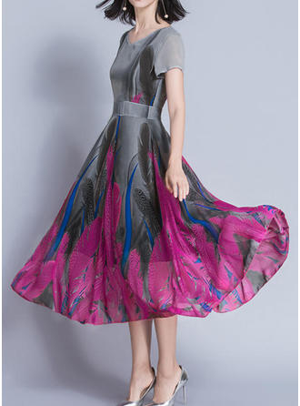 Polyester/Cotton With Print Knee Length/Midi Dress