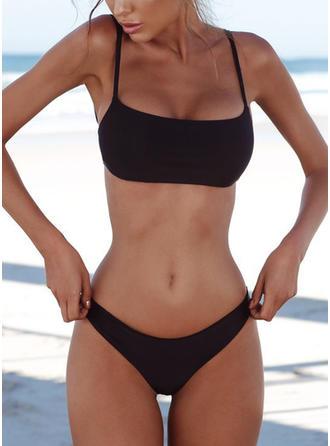 Couleur Unie Taille Basse À Bretelles Sexy Bikinis Maillots De Bain