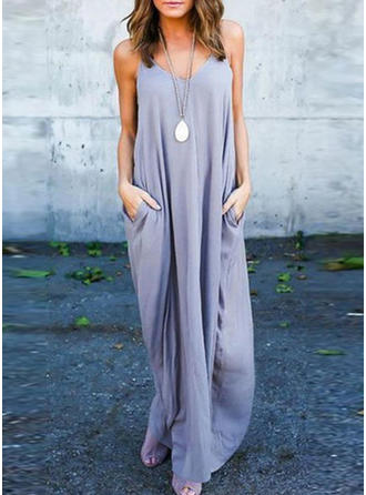 Solid Strap Maxi Shift Dress