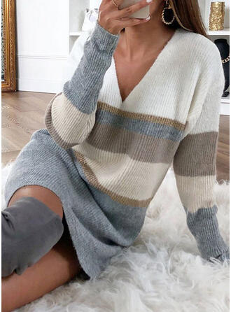 Color Block Striped V-Neck Sweater Dress
