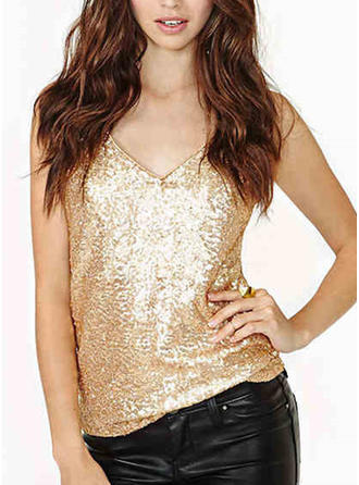 Sequins Spaghetti Strap Sleeveless Casual Sexy Blouses