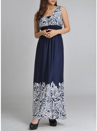 Print A-line Maxi Vintage Dresses