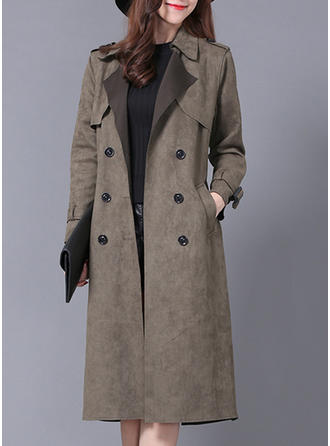 Cotton Blends Long Sleeves Plain Slim Fit Coats