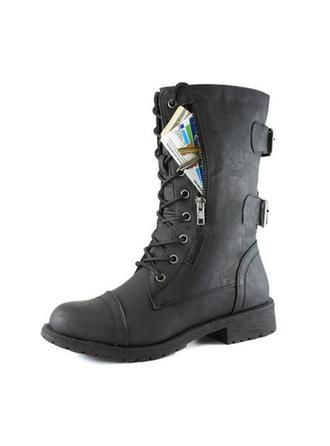 Dámské PU Placatý podpatek Boty Bez Podpatku Uzavřená Špička Boty S Přezka Zip obuv