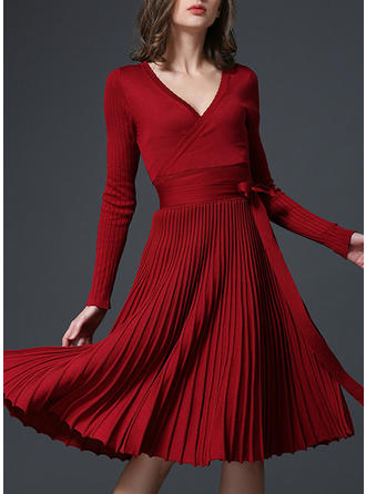 Solid Long Sleeves A-line Knee Length Casual/Party/Elegant Dresses