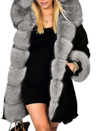 Faux Fur Long Sleeves Plain Wide-Waisted Coats