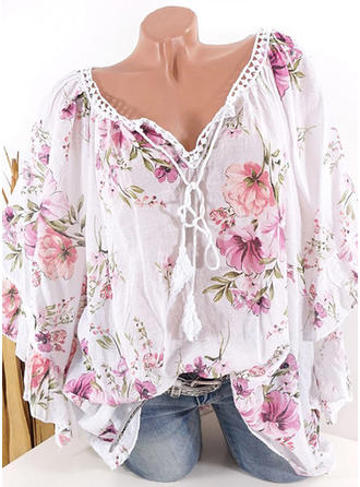 Print Floral V Neck Butterfly Sleeve 1/2 Sleeves Casual Blouses