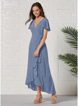 Print Short Sleeves A-line Asymmetrical Casual Dresses