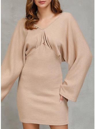 Solid V neck Sweater Dress