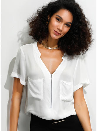Solid V Neck Short Sleeves Casual Shirt Blouses