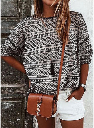 Cotton Round Neck Print Long Sleeves Shirt Blouses