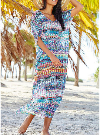 Tropical Print V-neck Sexy Cover-ups Swimsuits