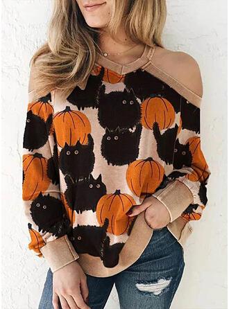 Animal Print Halloween Lezser Hosszú ujjú Pulóver