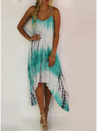 Print Sleeveless Shift Asymmetrical Casual/Vacation Dresses