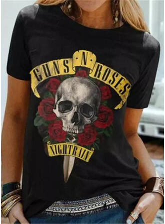 Print Floral Figure Round Neck Short Sleeves Casual Halloween T-shirts