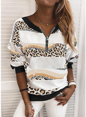 Print Leopard pailletter V-hals Lange ærmer Sweatshirts
