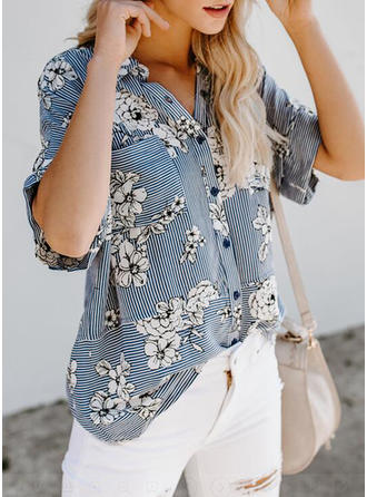 Polyester V Neck Floral 1/2 Sleeves Casual Blouses