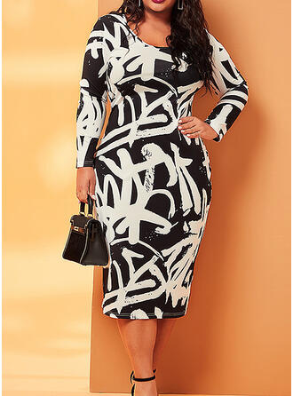 Print Long Sleeves Bodycon Party/Plus Size Midi Dresses