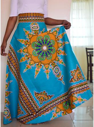 Chiffon Floral Floor-Length A-Line Skirts