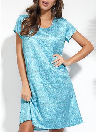 Print Short Sleeves Shift Knee Length Casual/Vacation T-shirt Dresses (199266561)