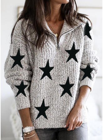 Print Lapel Casual Sweaters
