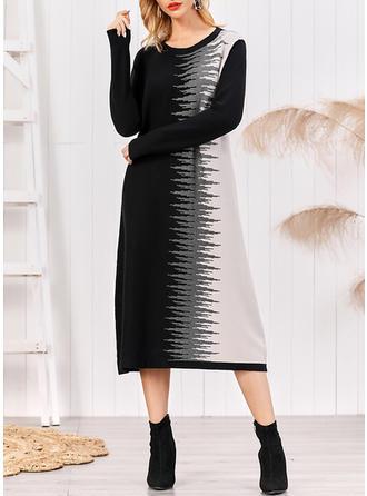 Impresión/Bloque de color Manga Larga Tendencia Midi Casual/Elegante Vestidos