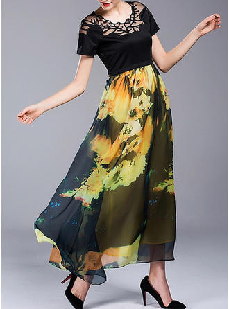 Nadrukowana/Kwiatowy Krótkie rękawy W kształcie litery A Maxi Elegancki Sukienki