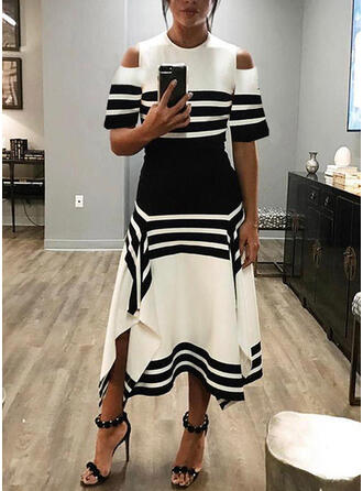 Color Block/Striped Short Sleeves A-line Casual Midi Dresses