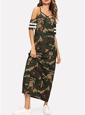 Print Cold Shoulder Sleeve Shift Maxi Casual/Vacation Dresses