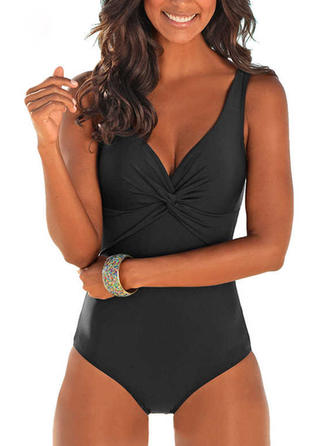 Solid Color Strap Sexy Fashionable Beautiful Classic Attractive Cute One-piece Swimsuits