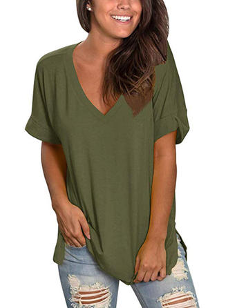 Solid V-Neck 1/2 Sleeves Casual Knit T-shirts