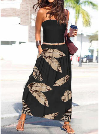 Print Sleeveless A-line Skater Vacation Maxi Dresses