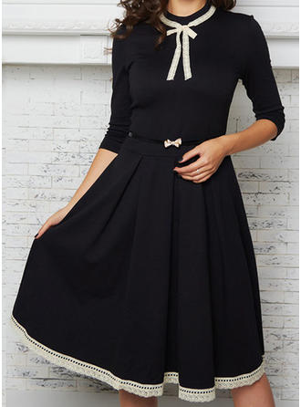 Lace/Solid 3/4 Sleeves A-line Knee Length Vintage/Little Black/Casual/Elegant Dresses