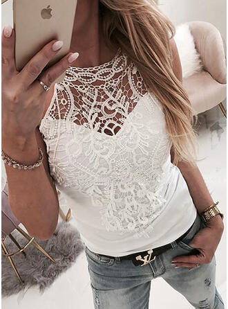 Solid Lace Round Neck Sleeveless Casual Sexy Tank Tops