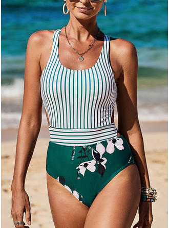 Floral High Cut Strap Fashionable Beautiful Cute One-piece Swimsuits