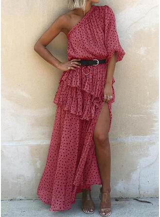 Print 1/2 Sleeves A-line Casual Maxi Dresses