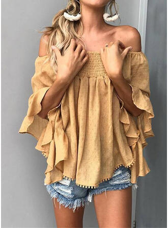 Solide Off the Shoulder Flare Mouw 3/4 Mouwen Pailletten Overhemd